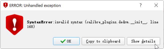 calibre syntax error